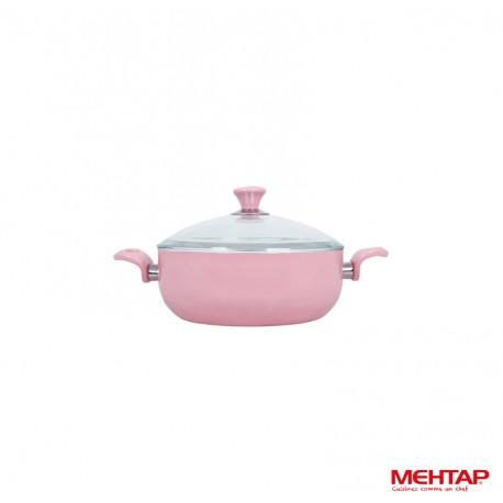 Faitout céramique avec couvercle rose - Mehtap SRNDT20