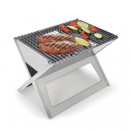 Portable barbecue inox pliable à charbon ou bois