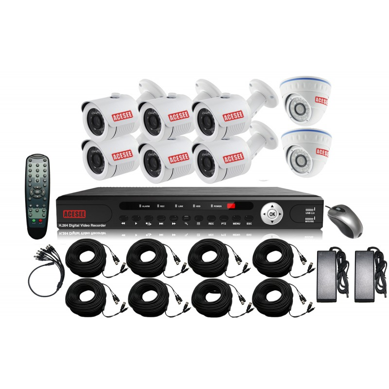 vente kit complet de vid o surveillance dvr ahd 8. Black Bedroom Furniture Sets. Home Design Ideas