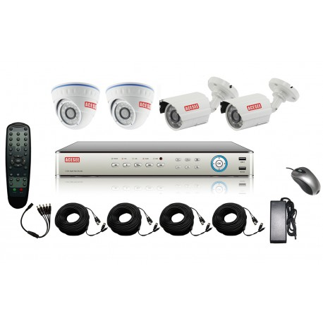 Kit complet de vidéosurveillance 4CH DVR analogique + 4 caméras - ACESEE