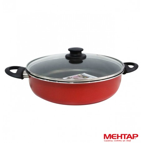 Mijoteuse téflon rouge avec couvercle - Mehtap