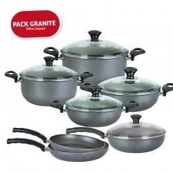 Pack Granite Series : Batterie de cuisine 12 pièces en Téflon