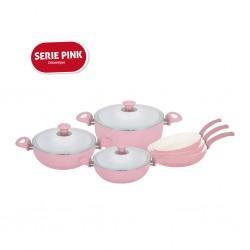Pack Céramique Pink : Batterie de cuisine 9 pièces