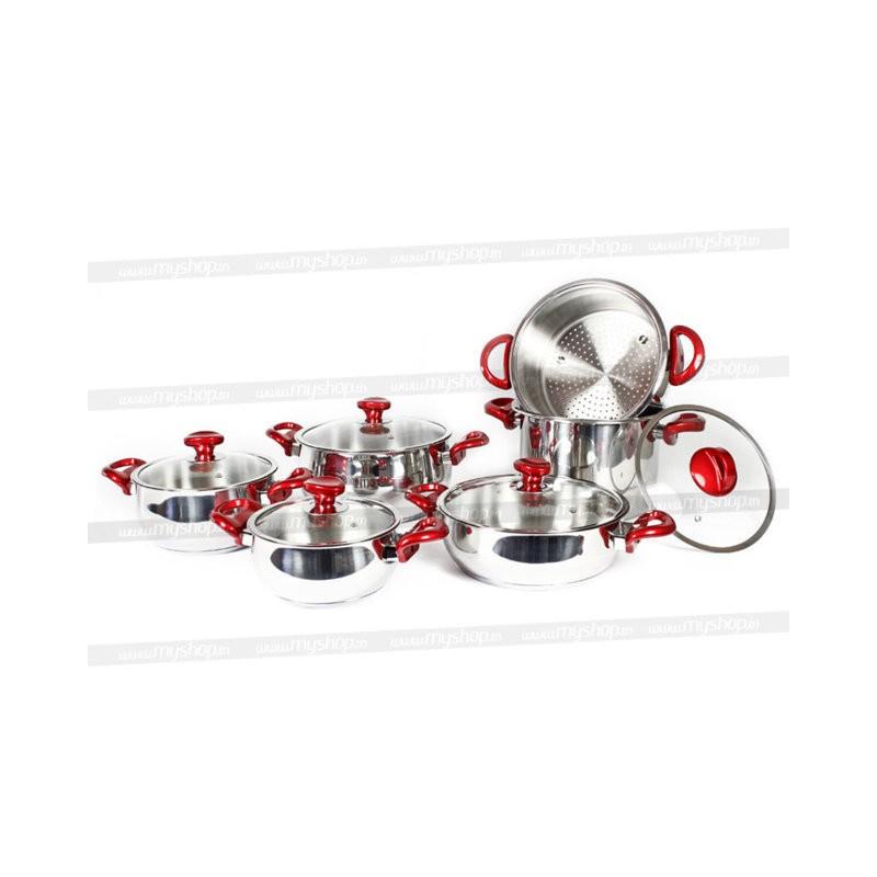 Batterie de cuisine husultan 11 pi ces en inox for Set cuisine inox