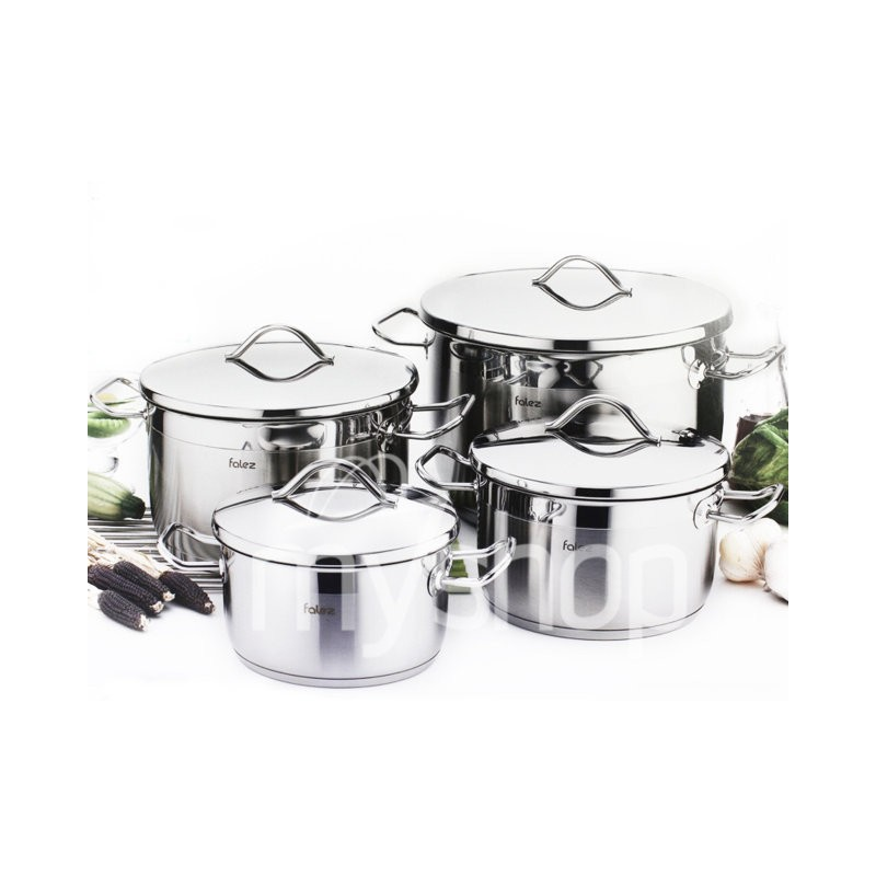 Batterie de cuisine falez profi 8 pi ces en inox for Batterie de cuisine inox