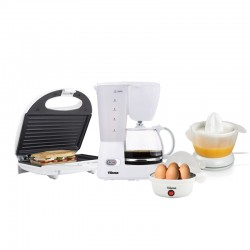 Pack Start 4 en 1 : Cafetière + Grill panini+ Presse-agrumes + Cuiseur à oeuf