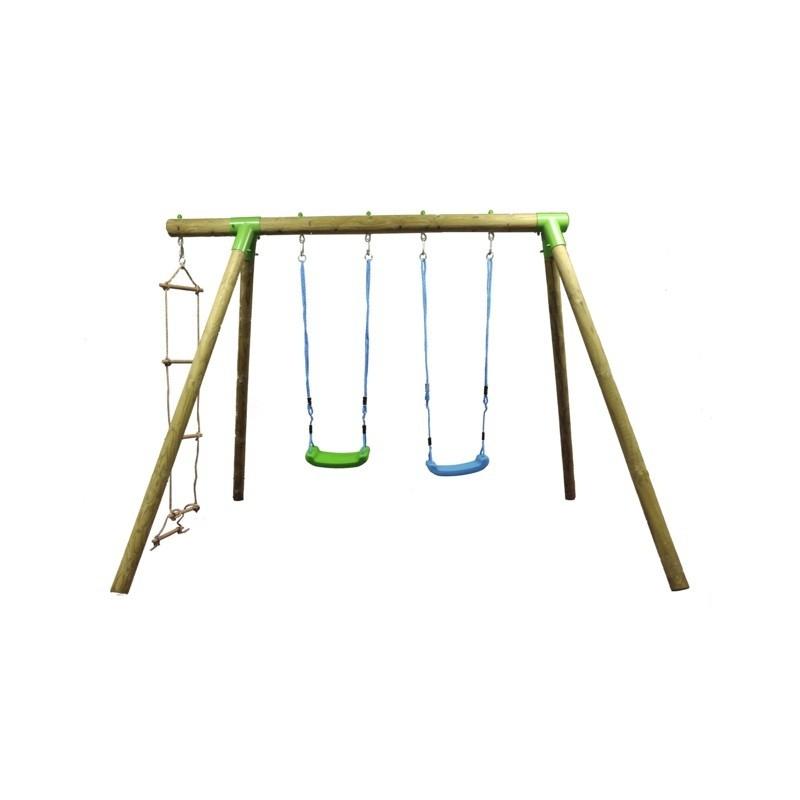 Balan oire en bois pour enfants greenset - Balancoire en bois ...