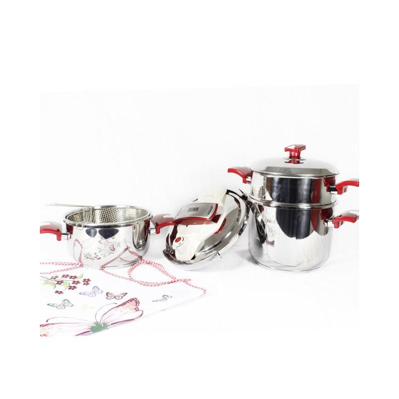 Batterie de cuisine noblesse 7 pi ces en inox for Set cuisine inox
