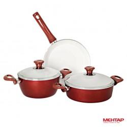 Set 5 pièces rouge en céramique - Mehtap SKSET