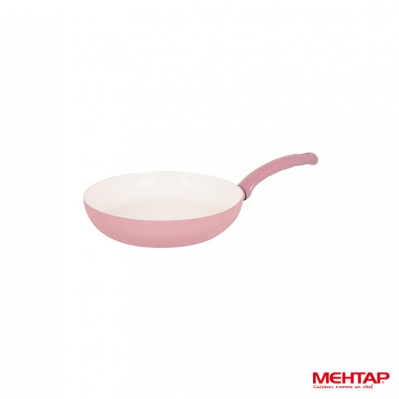 Po le c ramique rose de diam tre 24 cm mehtap srt24 for Poele cuisine ceramique