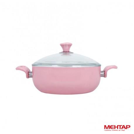 Faitout céramique avec couvercle rose - Mehtap SRNDT24