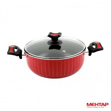 Faitout téflon rouge avec couvercle - Mehtap