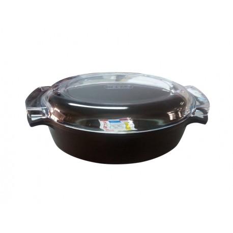 Faitout en fonte émaillé, oval noir diamètre 33 cm - Mehtap ROT33