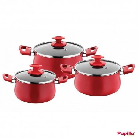 Set de 3 Faitouts en téflon rouge diamètre (16-18-20 cm) - Papilla RE.SPS.3S