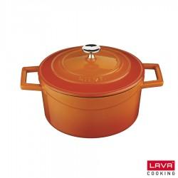 Cocotte orange ronde en fonte émaillée avec couvercle fonte - Lava