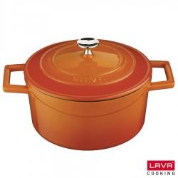 Cocotte orange ronde en fonte émaillée avec couvercle - Lava