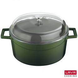 Cocotte verte en fonte émaillée avec couvercle en verre - Lava