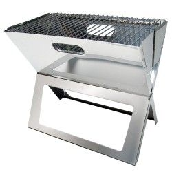 Barbecue portable pliable en inox à charbon ou bois