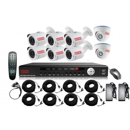 Kit complet de vidéo surveillance DVR AHD + 8 caméras - ACESEE