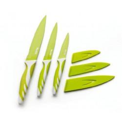 Lot de 3 couteaux de cuisine vert 8,5/12,5/15 cm - ibili