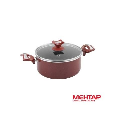Faitout téflon rouge avec couvercle diamètre 24 cm - Mehtap HDT24