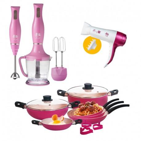 Pack Pink : Batterie de cuisine 11 pcs + Set Mixeur + Sèche cheveux