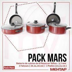 Pack Mars Series : Batterie de cuisine 8 pièces en Téflon