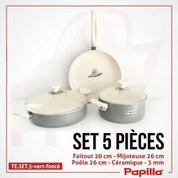 Batterie de cuisine vert 5 pièces céramique - Papilla TE.SET.5