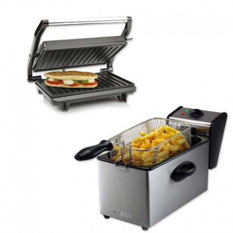 Pack TopSandwich : Friteuse Capacité 4 L + Grille panini Noir