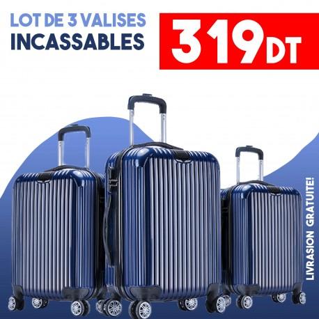 Lot de 3 Valises Bleu- ABS-PC