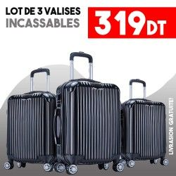 Lot de 3 Valises Noir - ABS-PC