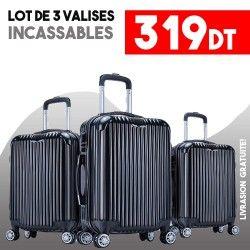 Lot de 3 Valises Noir - ABS-PC