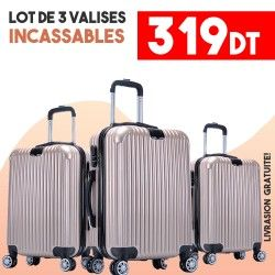 Lot de 3 Valises Or- ABS-PC