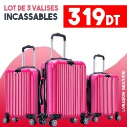 Lot de 3 Valises Rose- ABS-PC