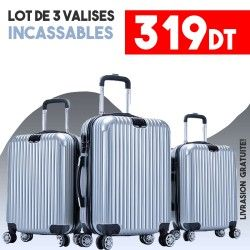 Lot de 3 Valises Gris ABS-PC