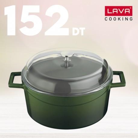 Cocotte vert en fonte émaillée avec couvercle fonte - Lava